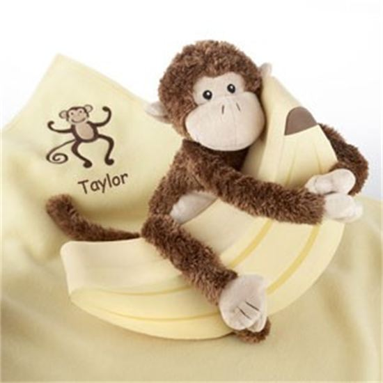 Personalized baby boy or baby girl embroidered blanket plush personalized baby boy or baby girl embroidered blanket plush monkey blanket gift negle Image collections